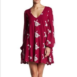 Free People Emma Embroidered Swing Dress Small